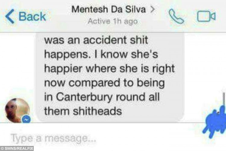 Screenshot of a message sent Mentesh Da Silva which has caused offence