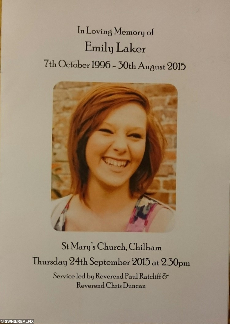 The Order of Service at from the funeral of Emily Laker who was killed in a car accident in Canterbury