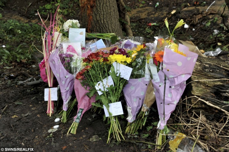 Flowers left at the scene in Shalloak Road where Emily Laker died in a crash