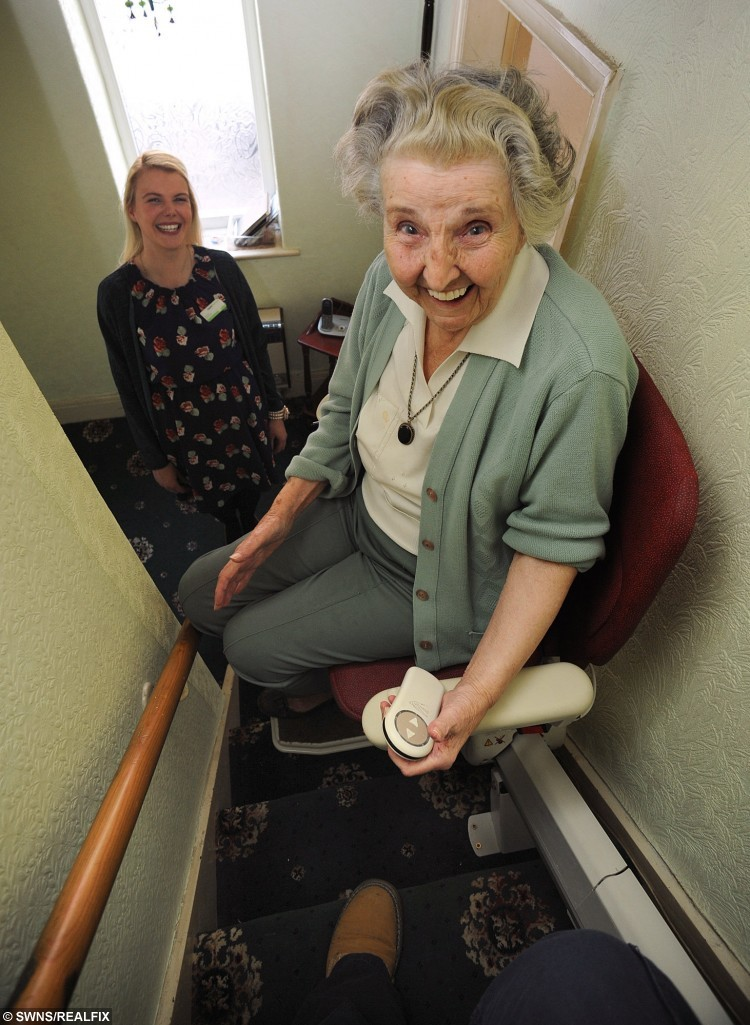 "88 year old Ruth Riley from Walton Le Dale, Lancashire, who was told by council she would have to pay £2,000 towards stairlift at home - despite being so ill she had to CRAWL up her stairs. Pictured with pharmacy worker Rachel Shannon who helped raise money for her lift. See Ross Parry copy RPYLIFT : An 88-year-old woman was told by her council she would have to pay £2,000 towards a stairlift - despite being so ill she had to to CRAWL up her stairs. Aged Ruth Riley, who took half an hour to ascend the stairs on her hands and knees after becoming to infirm to walk, had been informed by her council that while they would pay the lion's share she would have to scrape together the rest - money she could ill afford. Thankfully, Mrs Riley's plight shocked and appalled hospital worker Rachel Shannon after visiting her to drop off medication, so much so she set up a fundraising page to pay for the essential equipment. Kind Rachel said: ""Taking half an hour to get up the stairs is no life at all. I just wanted to do something to help."" As part of her job, Rachel delivers medication for two Lancashire hospitals - Royal Preston Hospital and Chorley and South Ribble District General Hospital - and it was while carrying out this service she became aware of Mrs Riley's plight."