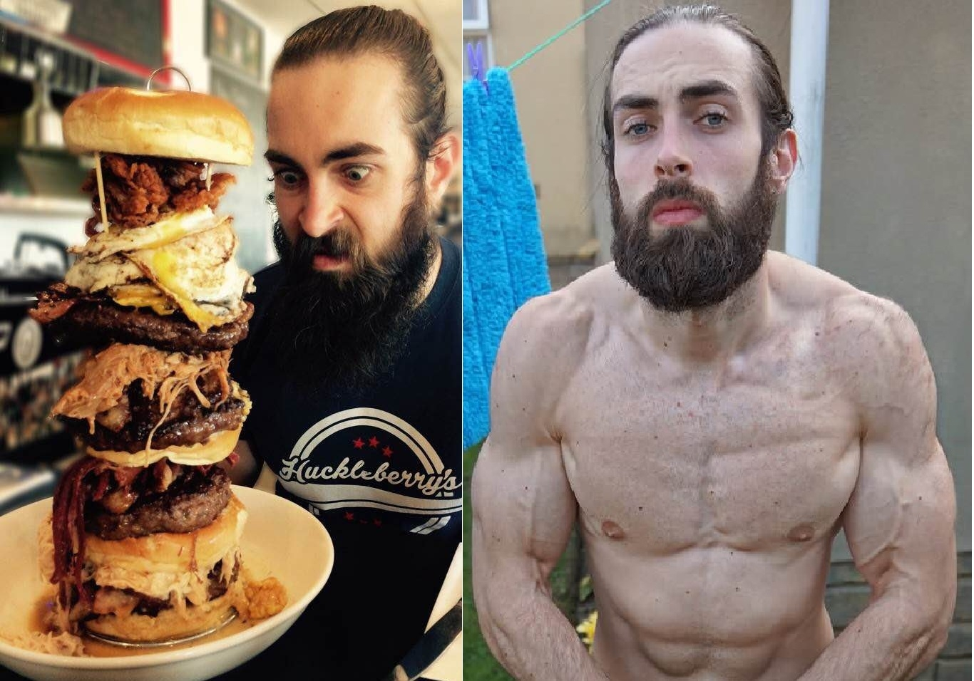 I can't believe he got ripped like this eating 10,000 calories in one sitting!