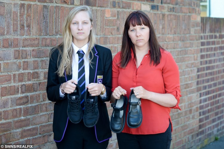 Sophie Bailey with mother Cheryl Razzel holding the shoes and trainers.