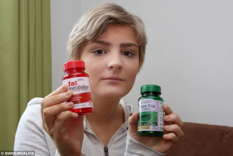 Taylor with some of the diet pills that landed her in hospital.