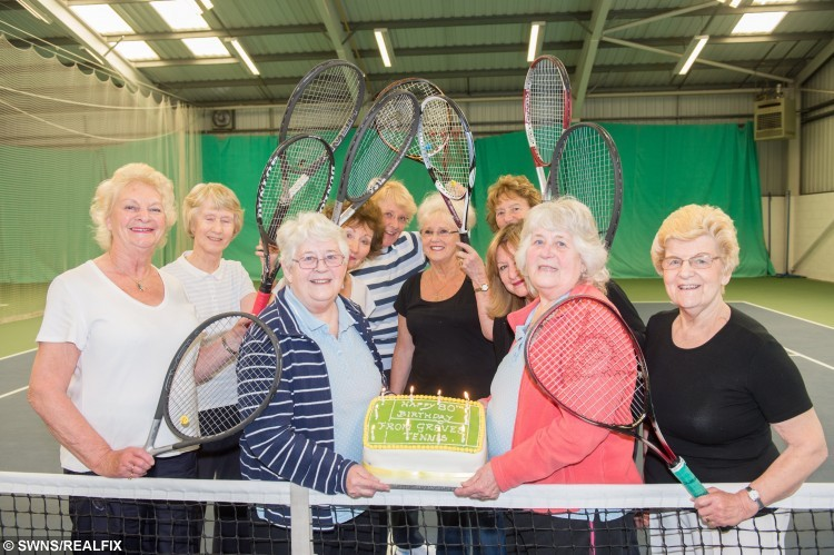 """Twins Donie Donnelly and Barbara Mason who have dedicated six-and-a-half decades of their lives playing tennis are determined to carry on - as they celebrate their 80TH birthday. See Ross Parry copy RPYTENNIS : Sprightly sisters Donie Donnelly and Barbara Mason admit they're not as fast as they once were but that doesn't stop them playing every week with women of a similar age.  And the birthday girls don't have any plans to hang up their rackets yet and instead have declared they're aiming for 90 next. Barbara, who is 35 minutes older than her sister Donie, admitted they have both had spells of being out of the game. Barbara said: """"We don't ever consider not playing but we've both had little breaks."""