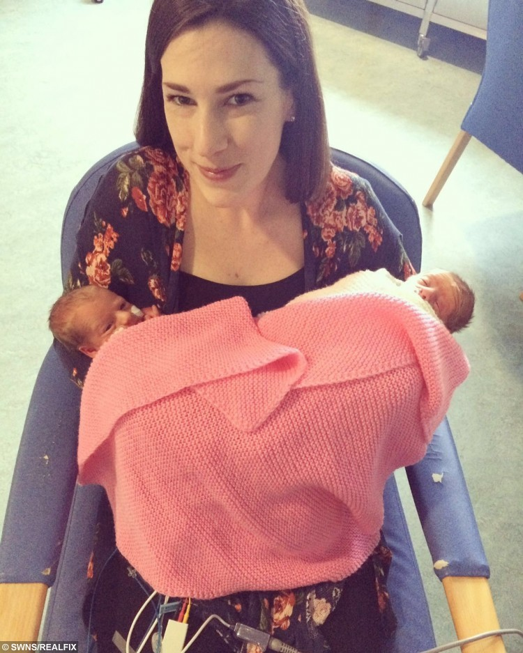"Rachel Ballard with William and Polly Moyse at Queen Alexandra Hospital in Portsmouth. See SWNS copy SWTRIPLETS: A couple who nearly gave birth to triplets by the side of the road have been able to hold two of them for the first time. Rachel Ballard and Kris Moyse are the proud new parents to William, Polly and Penny, who were born at 32 weeks on Thursday morning. And despite being born premature on the day the Queen turned 90, only one has a royal name. Proud dad Kris said: ""It's a complete coincidence as William is my granddad's name. They were due to arrive on May 11, but Mother Nature decided otherwise, and they came on the Queen's birthday so it's like it was meant to be."""
