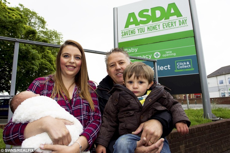 GV of Asda where Maggie-Mae Moore 1 week old was born.  May 25, 2016.  A quick-thinking dad was forced to turn midwife when his wife gave birth to their baby daughter.