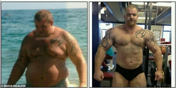 Dave in Spain in 2008 (left) then just three years later after a new health regime turned his life around.