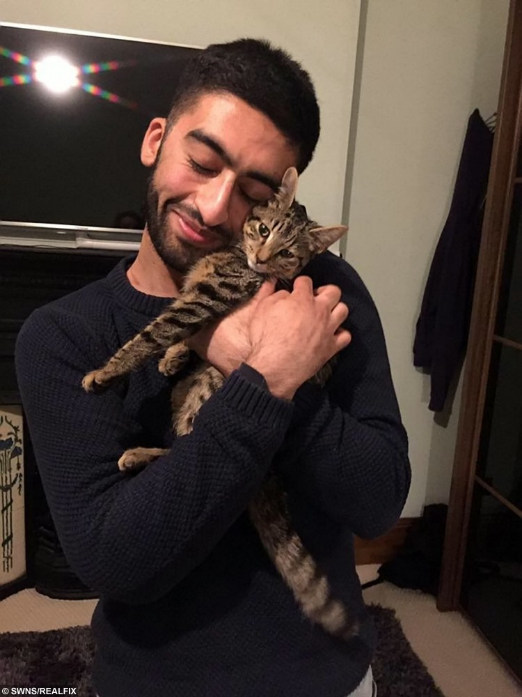 Hussein Sharaf with Bruno the tabby cat who survived a car crash. See SWNS story SWKITTEN; A miracle kitten lost two of its nine lines after it was thrown from a car in a horror motorway crash - then survived two weeks on its own in the wild. Bengal tabby Bruno was in a cat carrier in the passenger seat of his owner Hussein Sharaf's Seat Ibiza when it skidded into the central reservation and overturned. The five-month-old kitten was thrown from the vehicle through a shattered window and couldn't be found at the crash site, leaving Hussein fearing the worst. Miraculously, 22-year-old Hussein was left with nothing but whiplash, cuts and bruises after the rush-hour crash, on April 22, which completely wrecked his car.