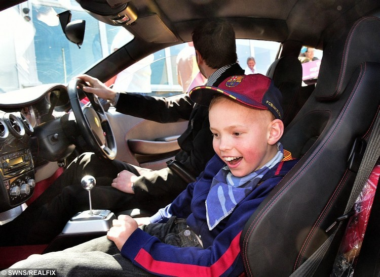 Toby in one of the cars