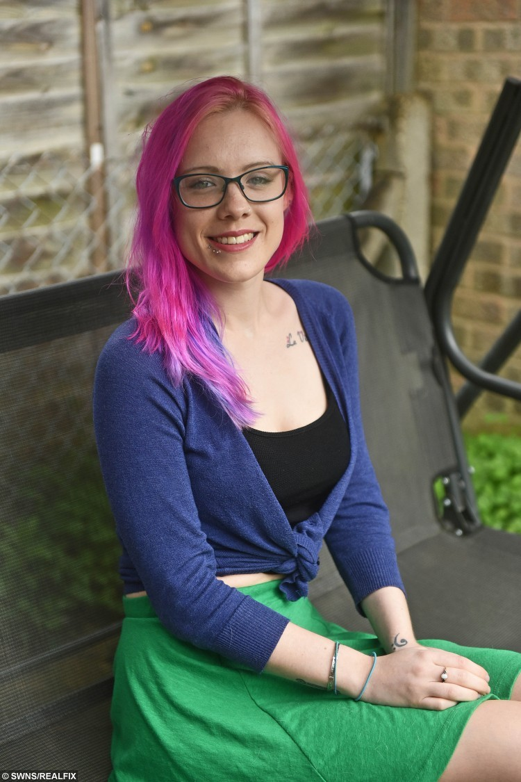 Olivia Tracey whose medical conditions mean she is 'allergic' to gravity. See SWNS story SWGRAVITY; A young woman who is allergic to GRAVITY is raising money for a wheelchair to give her independence. Olivia Tracey, 25, has a rare genetic condition which means her body has trouble adjusting to gravity - leaving her struggling to even stand up. The only way for Olivia to relieve the symptoms of Postural Tachycardia Syndrome (POTS) is to lie down. Desperate for independence, Olivia, from Cheltenham, is raising money to buy a wheelchair so she can leave her house alone and eventually go to university.