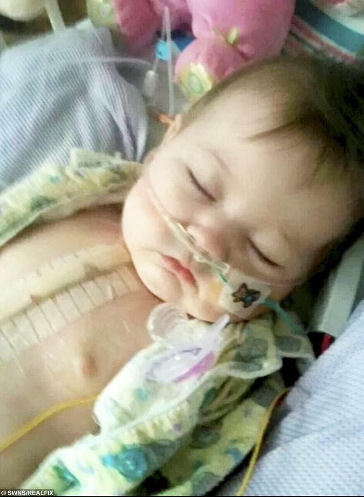 Pictured in hospital aged just six months.