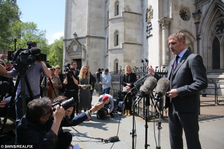 Jon Platt talks to the press outside the High Court, May 13 2016. See National News story NNHOLS; The case of a father who refused to pay a £120 fine for taking his daughter on an unauthorised term-time holiday is due to be heard by the High Court. Magistrates had ruled that Jon Platt had no case to answer as, overall, his daughter had attended school regularly. But Isle of Wight Council has asked the High Court to clarify whether a seven-day absence amounts to a child failing to attend regularly. Campaigners say the case could redefine the way the law is applied in England.