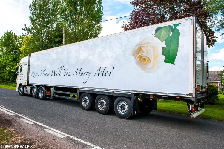 The lorry that Lee Juniper organised to propose to Rosie Peters.