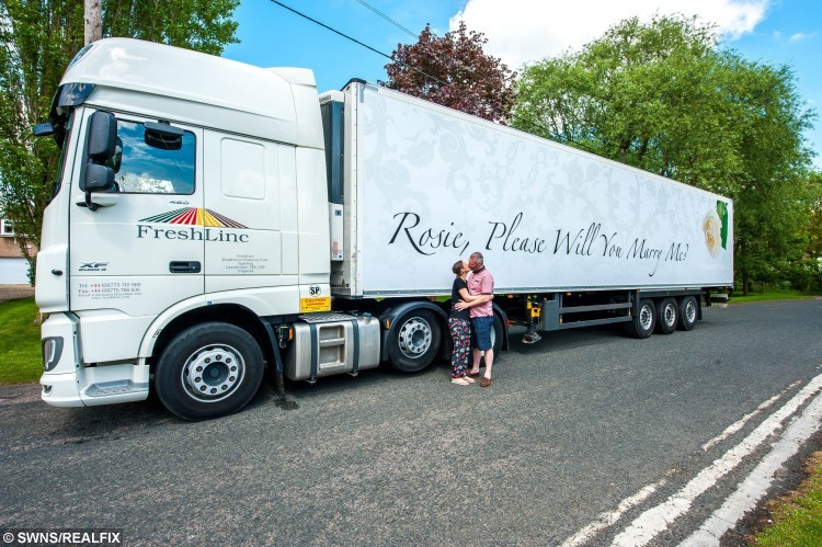 Lee Juniper with Rosie Peters. Lee proposed to Rosie with the help of a message written on a lorry.