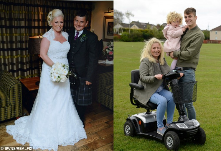 Louise Wilson, 37, from Kilmarnock, Ayrshire, with her son Kyle Horner, 14, on her wedding day in Sep 2014, shortly after Louise was diagnosed with MS.  Wearing a stunning lace embellished white dress with her hair swept up and a beaming smile on her face, beautiful Louise Wilson looked every inch the blushing bride.  See CENTRE PRESS story CPSCOOTER.  But underneath the dress and the makeup she was hiding a grim battle with Multiple Sclerosis.  Now Louise has been hailed as an inspiration by other sufferers of the crippling disease after vowing not to let it stop her being a mother to her precious young daughter and teenage son.  At the age of 37 the one time avid dancer who lived for festivals now depends on a mobility scooter to get around, gifted to her by her local MS Society.  Louise, from Crosshouse, East Ayrshire, said getting her scooter has been life-changing in her ongoing battle with the disease.