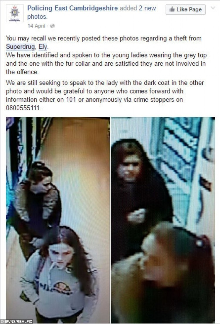 Facebook post from Cambridgshire police stating Francesca Galelli seen on CCTV (left, top) with friend Molly Curtis (left, bottom).