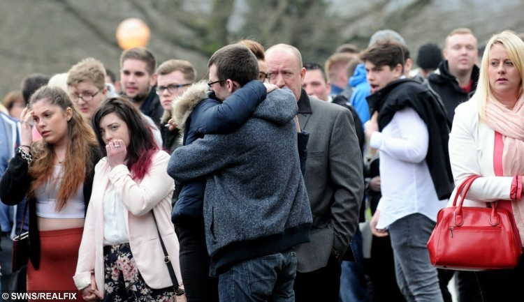 Family and friends attend the funeral of Dale Pentney.