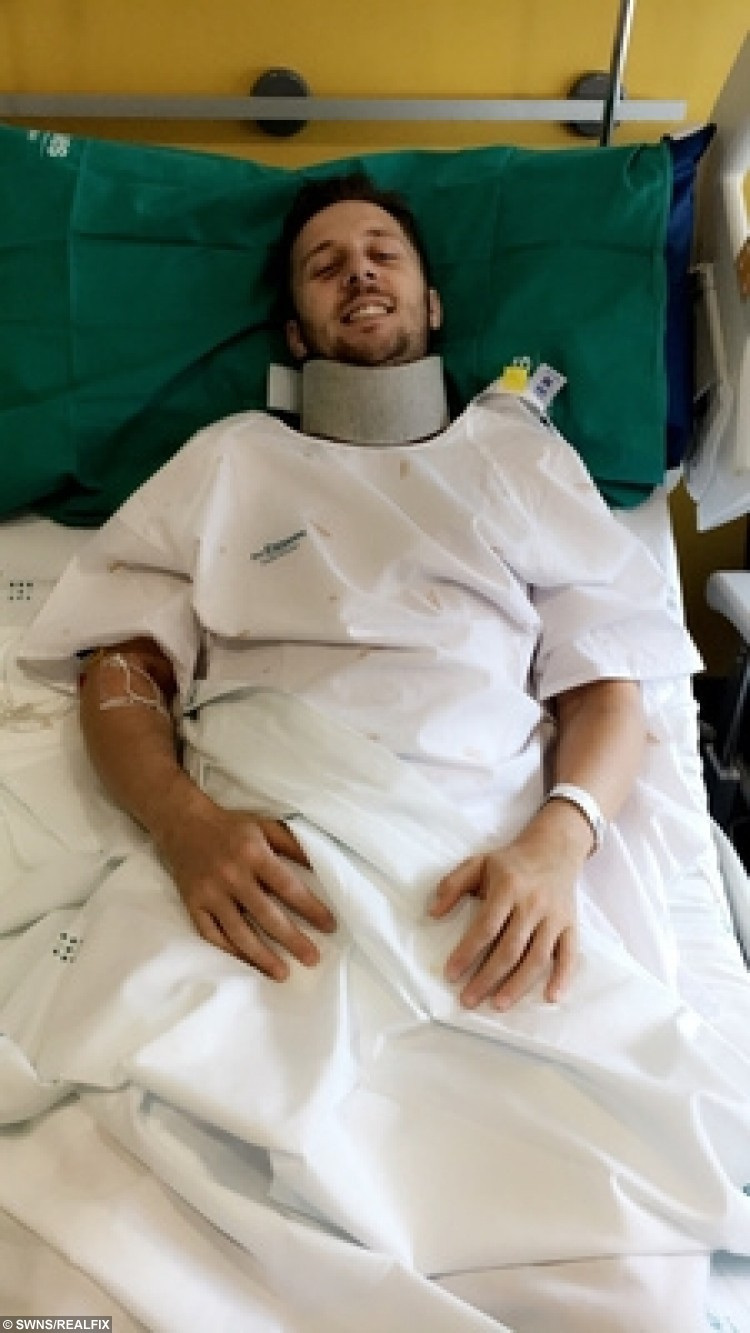 James Thorpe in hospital as he recovers from his stag day horror