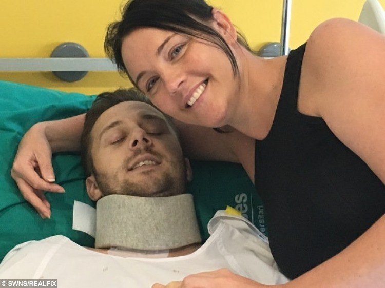 Photo of the couple in hospital as James recovered from his injuries.
