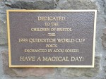 Prank plaque claims hoop sculptures at children's hospital is Quidditch goals from Harry Potter