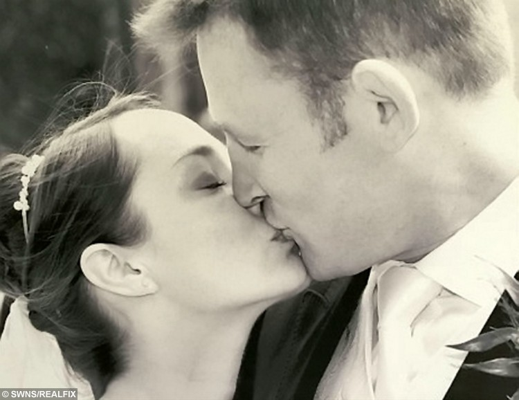 David Harries, 50, and wife Anthea, 41, on their wedding day.