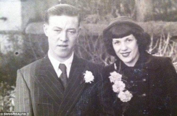 Jean Walters and her late husband Dennis pictured on their wedding day 12th January 1952