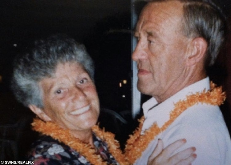 Jean Walters and her late husband Dennis pictured on holiday in Spain in 1992