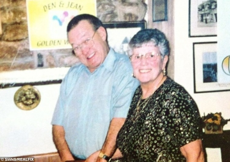 Jean Walters and her late husband Dennis pictured on their 50th wedding anniversary celebration January 2002