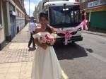 Bride stuns groom by arriving to wedding in his bin lorry