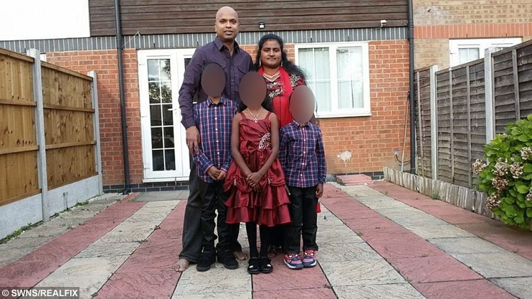 Please note the children's faces are blurred at the request of the  family.  Kavipriya Paladhanushan and her husband Dhanushan Balathanushan with their children.