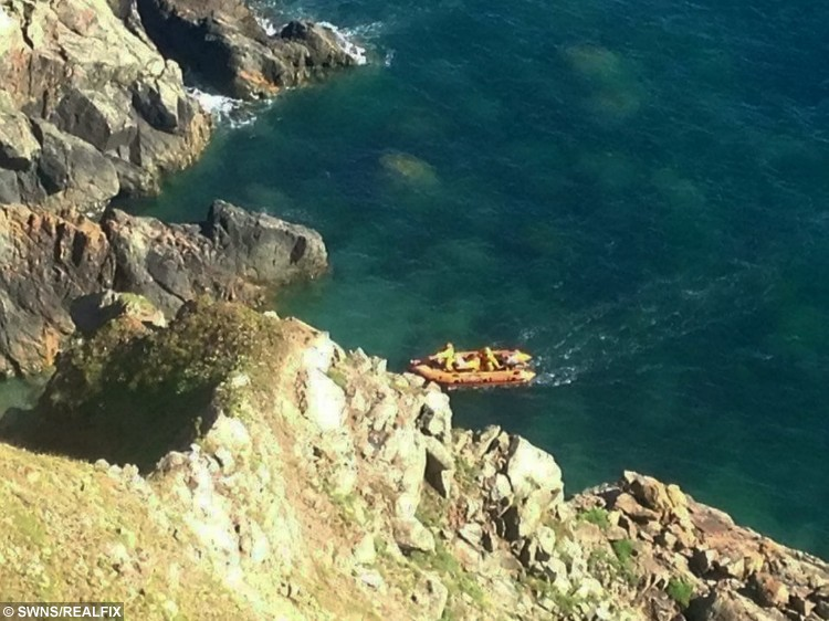 A RNLI crew pictured as they rescue a dog which fell 300ft off this cliff.