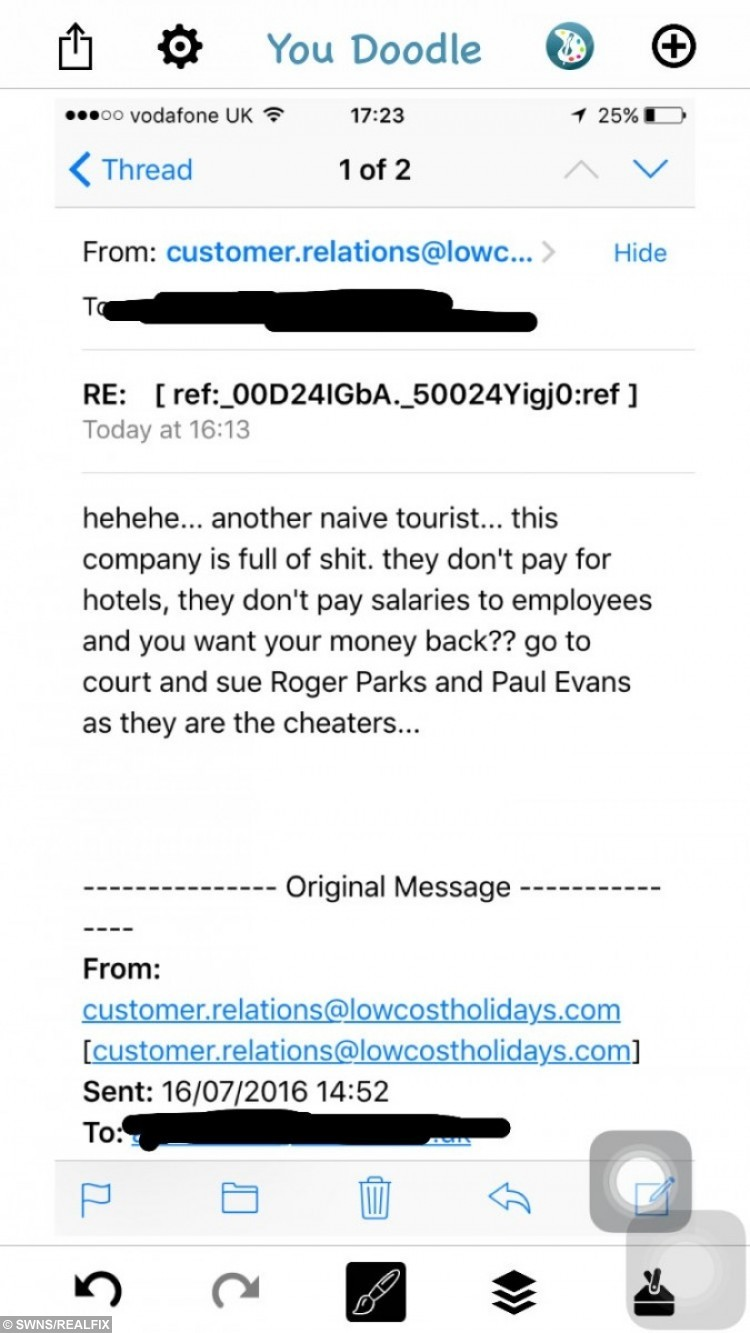The email exchange between Ashlie Sefton and lowcostholidays.com.