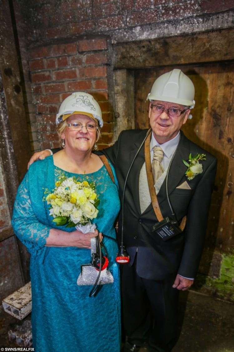 Sharon Hinchcliffe and Alan Torr tie the knot 140 metres underground at the National Coal Mining Museum