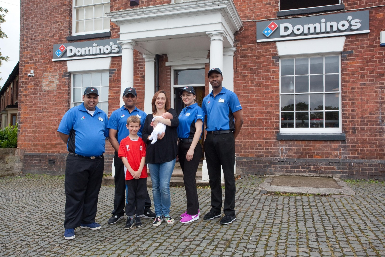 Gemma Grainger (35) from Birchmoor, Tamworth, with baby Noel outside the Domino's where he was born