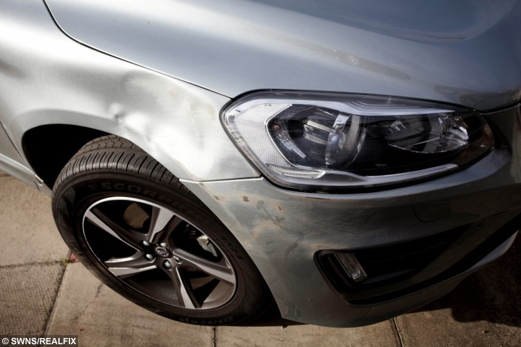 Damage to Stuart Hall's Volvo car