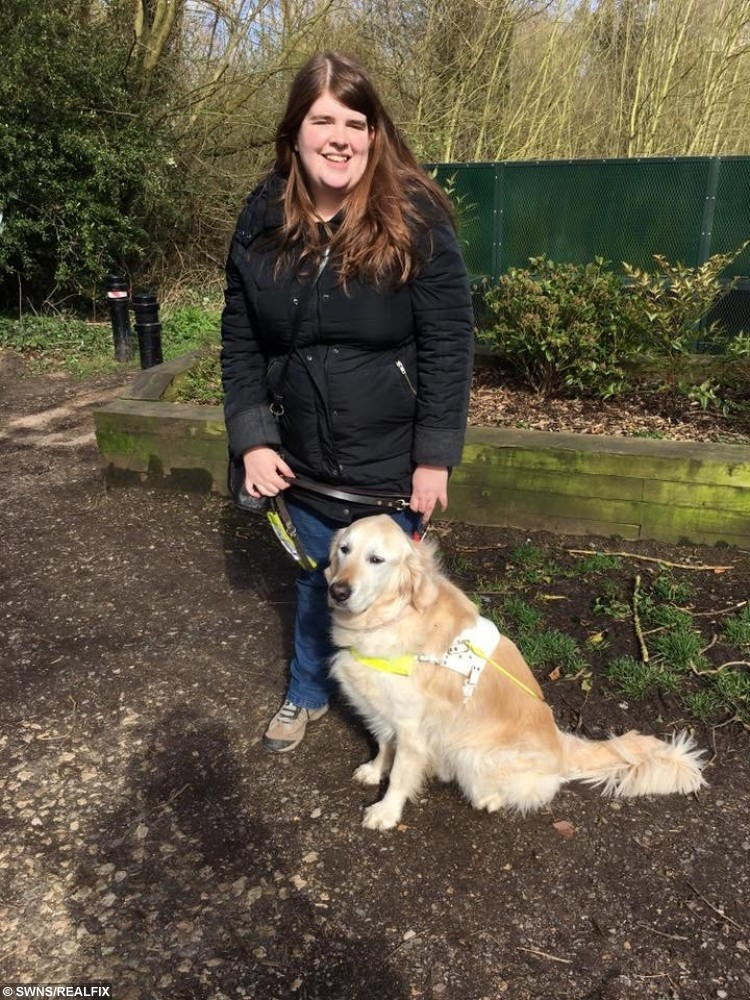 Laura Bonehill, 29, and her guide dog Falon.