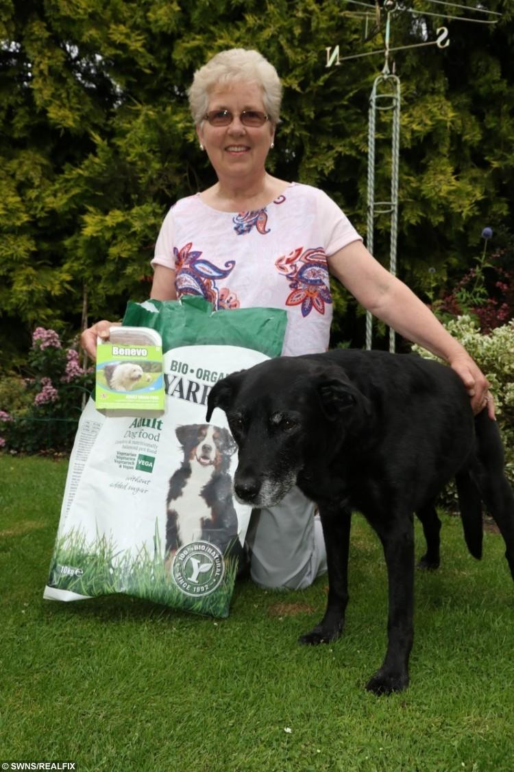 Ann Boyce, from Coulsdon, south London with Tara the vegan dog.
