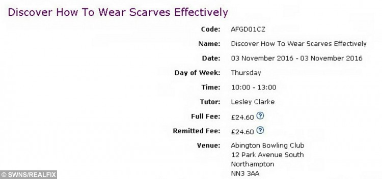 A cash-strapped council is blowing taxpayers' money organising a course on how to wear a SCARF