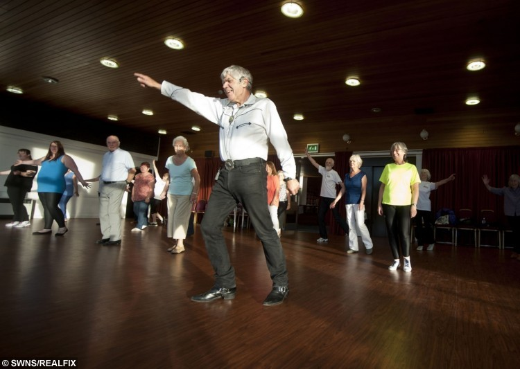 Ex-policeman and now line dancing teacher, Mike Baker, from Elgin, Moray, taking classes at the age of 75