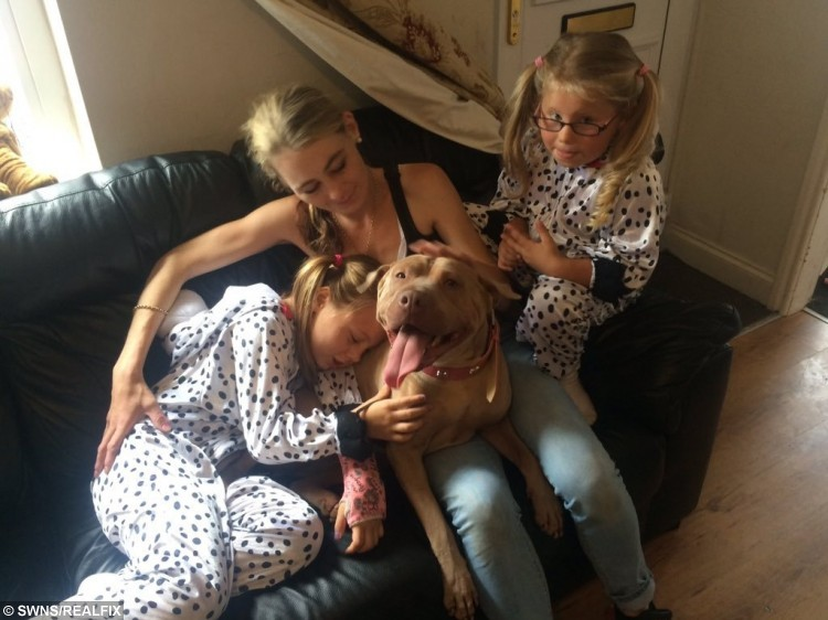 Maddison Armer (left), Jenny Armer (middle) and Lola Armer are reunited with their beloved dog
