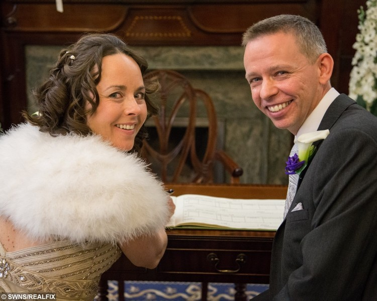 John Piears with his wife Beata on there wedding day