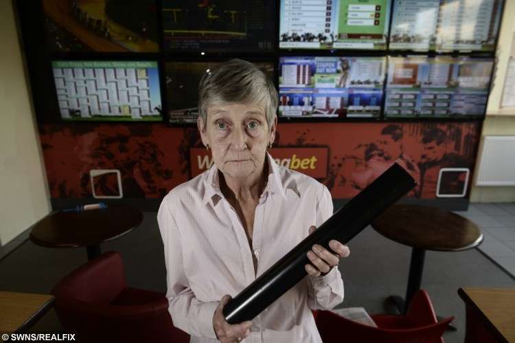 Mary Buchan used an iron bar to fend off a thief at a bookmakers in Glasgow, Scotland.