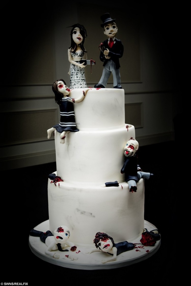 Horror themed, three tier wedding cake at the reception of newlyweds Mr and Mrs Paul Hornby