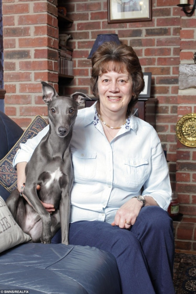 Owner Janet Burton with Rupert the whippet who loves dressing up