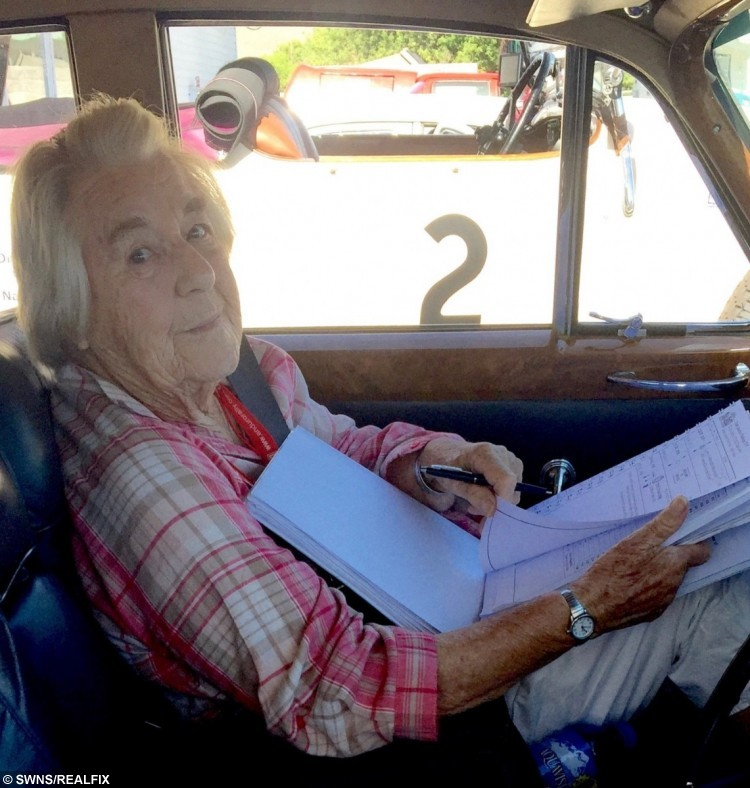 Dorothy Caldwell, 97 in the 1965 Rolls-Royce for the 22-day marathon across Canada and the USA.