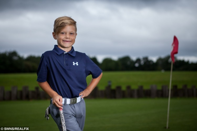 Jaxson Perry, 6, young golfing Champion at The Kendleshire Golf Club.