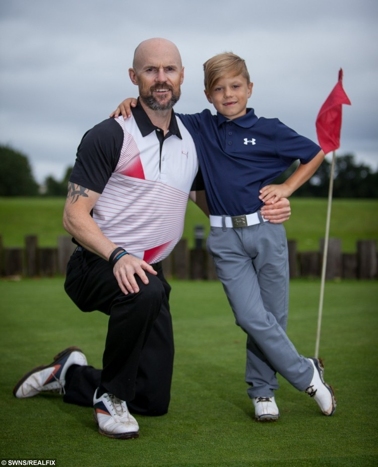 Andrew Perry and Son Jaxson Perry, 6, young golfing Champion at The Kendleshire Golf Club.