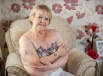 Great-grandmother has beautiful lace bra tattooed over cancer surgery scars