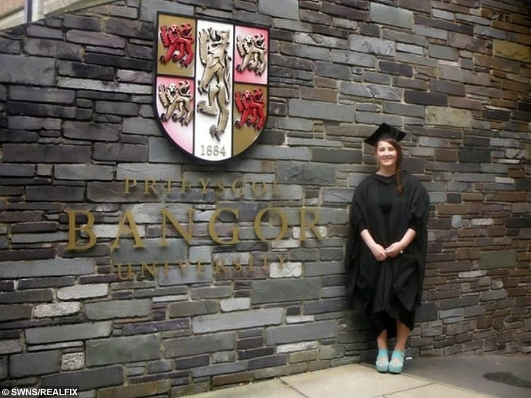 The 21-year-old recently graduated with a degree in Law from Bangor University