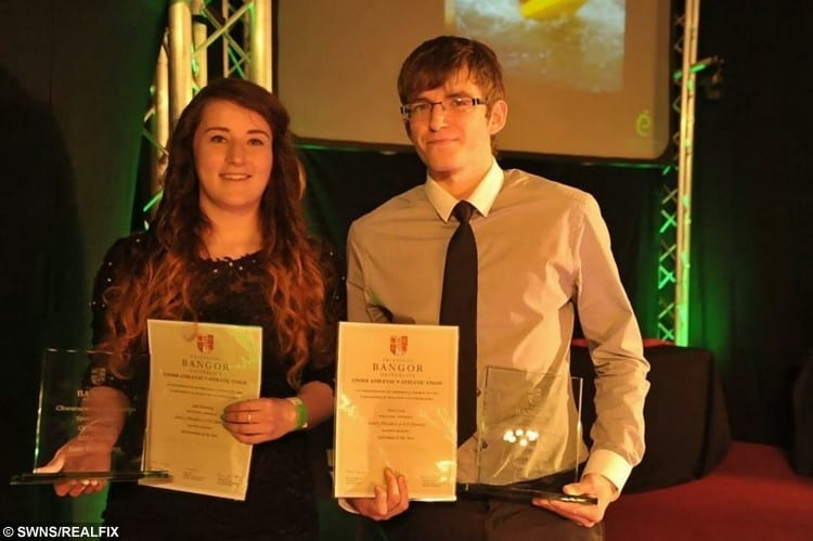 Sam Hemming with Tom Curtis, the driver of the vehicle in which she was a passenger when it crashed, at an award ceremony at Bangor University